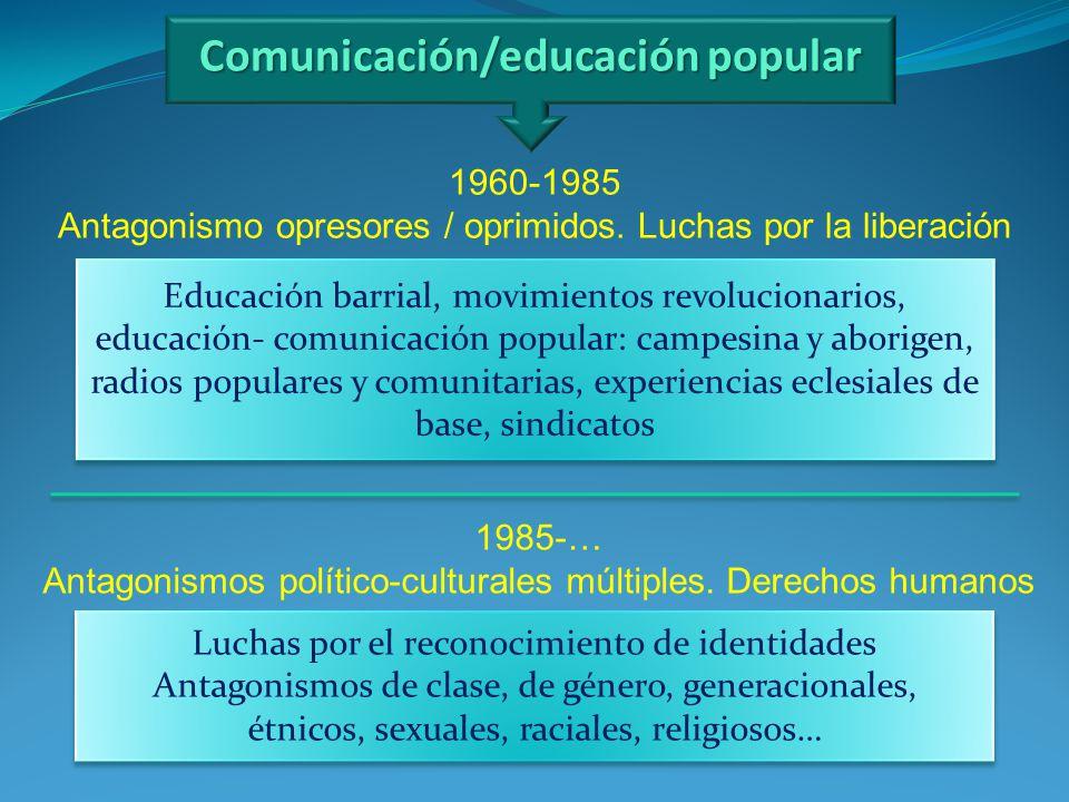 Comunicación/educación popular Luchas por el reconocimiento de identidades Antagonismos de clase, de género, generacionales, étnicos, sexuales, racial