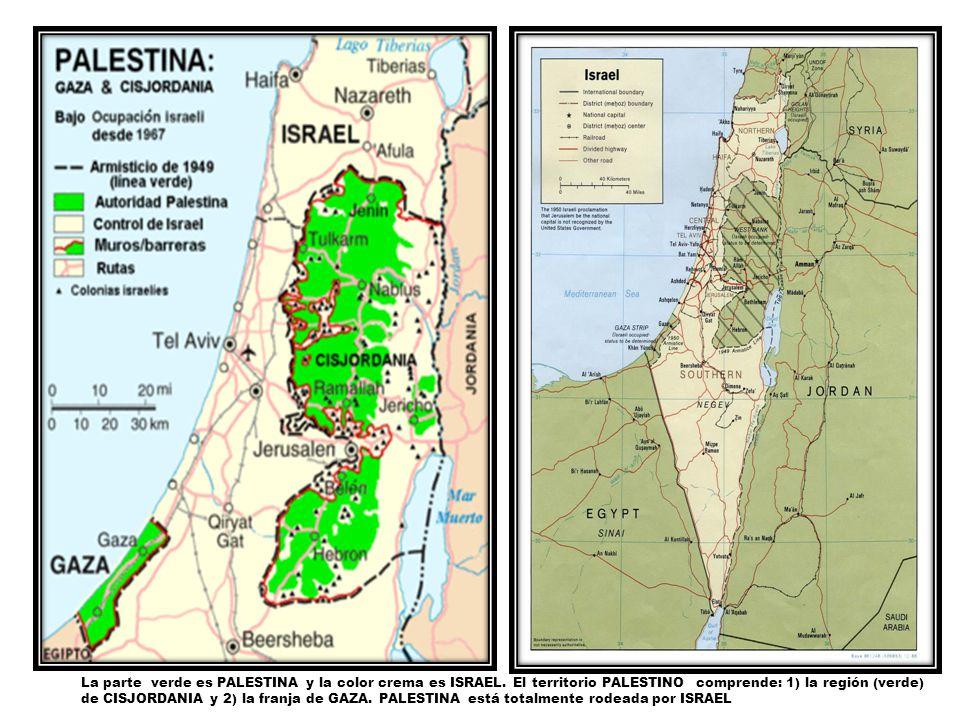 La parte verde es PALESTINA y la color crema es ISRAEL. El territorio PALESTINO comprende: 1) la región (verde) de CISJORDANIA y 2) la franja de GAZA.