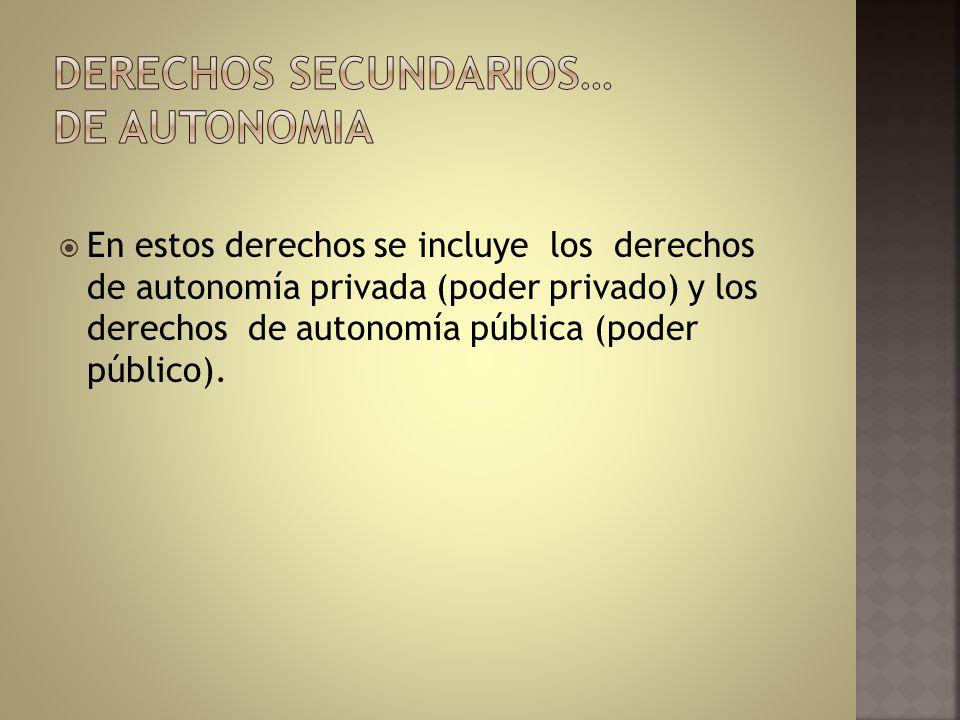 En estos derechos se incluye los derechos de autonomía privada (poder privado) y los derechos de autonomía pública (poder público).
