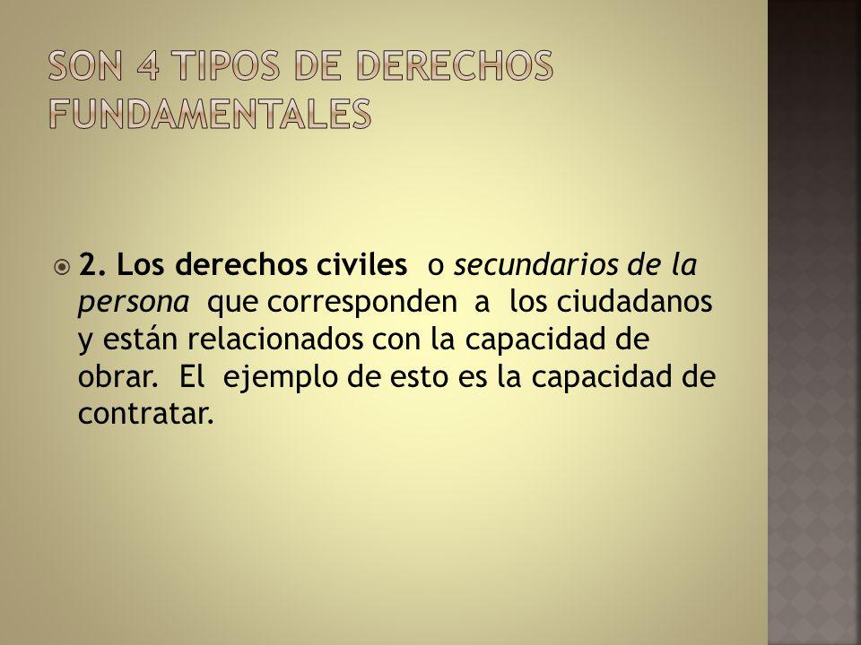 2. Los derechos civiles o secundarios de la persona que corresponden a los ciudadanos y están relacionados con la capacidad de obrar. El ejemplo de es
