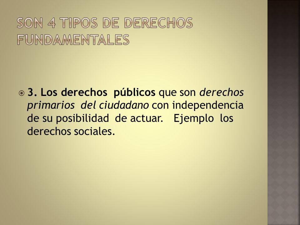 3. Los derechos públicos que son derechos primarios del ciudadano con independencia de su posibilidad de actuar. Ejemplo los derechos sociales.
