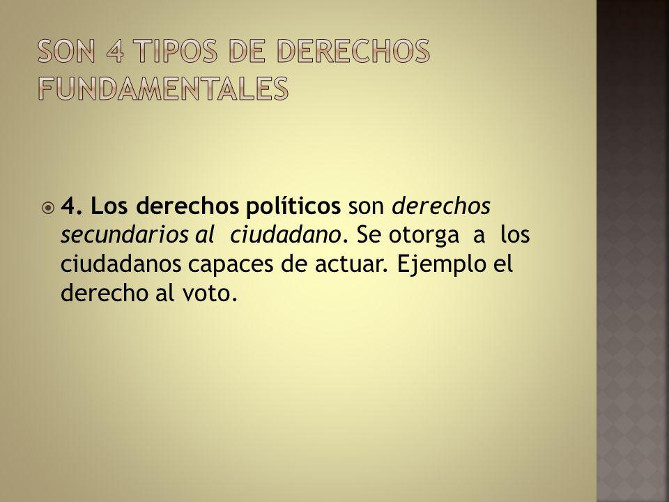 4. Los derechos políticos son derechos secundarios al ciudadano. Se otorga a los ciudadanos capaces de actuar. Ejemplo el derecho al voto.