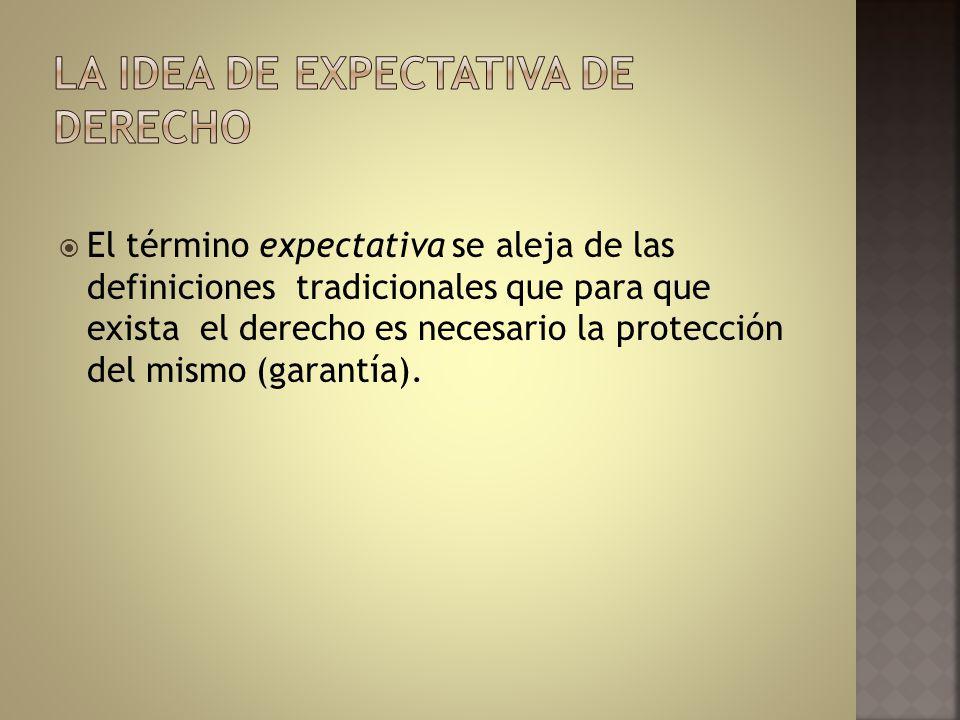 El término expectativa se aleja de las definiciones tradicionales que para que exista el derecho es necesario la protección del mismo (garantía).