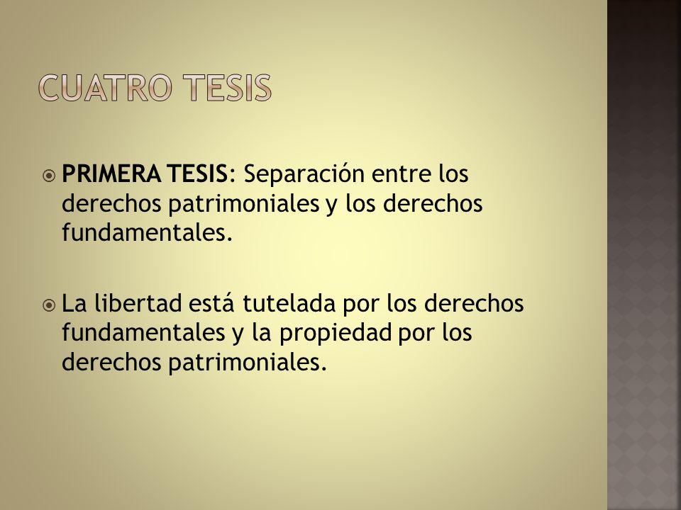 PRIMERA TESIS: Separación entre los derechos patrimoniales y los derechos fundamentales. La libertad está tutelada por los derechos fundamentales y la