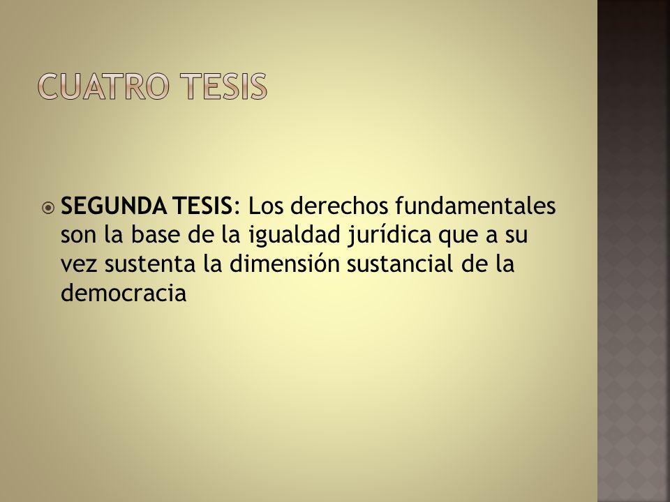 SEGUNDA TESIS: Los derechos fundamentales son la base de la igualdad jurídica que a su vez sustenta la dimensión sustancial de la democracia