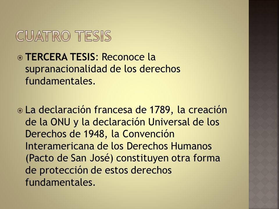 TERCERA TESIS: Reconoce la supranacionalidad de los derechos fundamentales. La declaración francesa de 1789, la creación de la ONU y la declaración Un