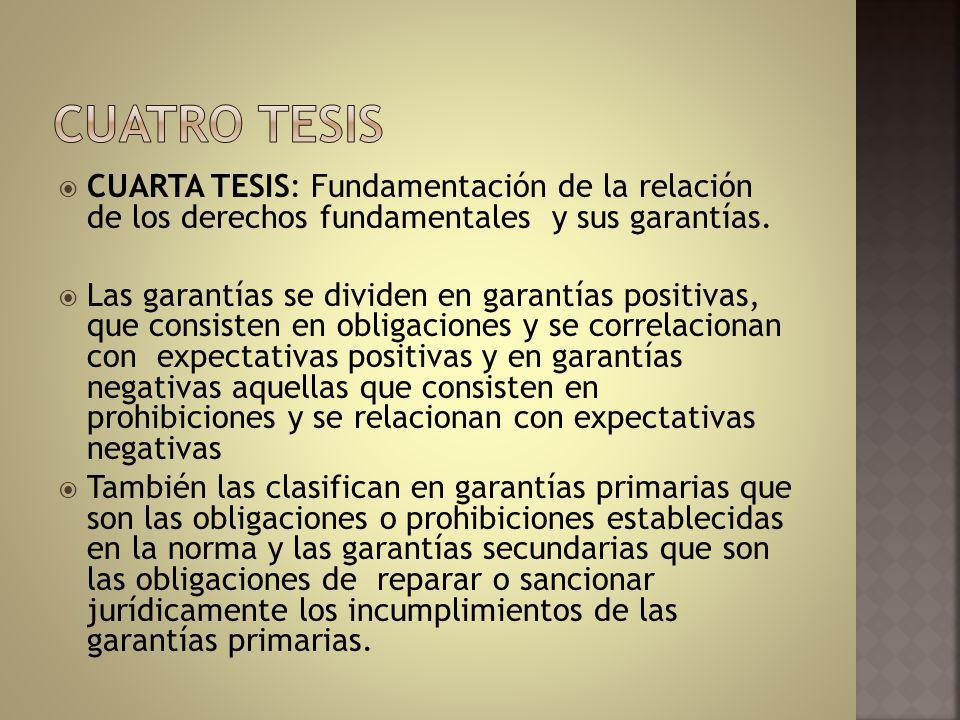 CUARTA TESIS: Fundamentación de la relación de los derechos fundamentales y sus garantías. Las garantías se dividen en garantías positivas, que consis