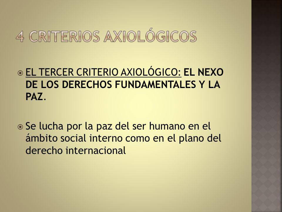 EL TERCER CRITERIO AXIOLÓGICO: EL NEXO DE LOS DERECHOS FUNDAMENTALES Y LA PAZ. Se lucha por la paz del ser humano en el ámbito social interno como en