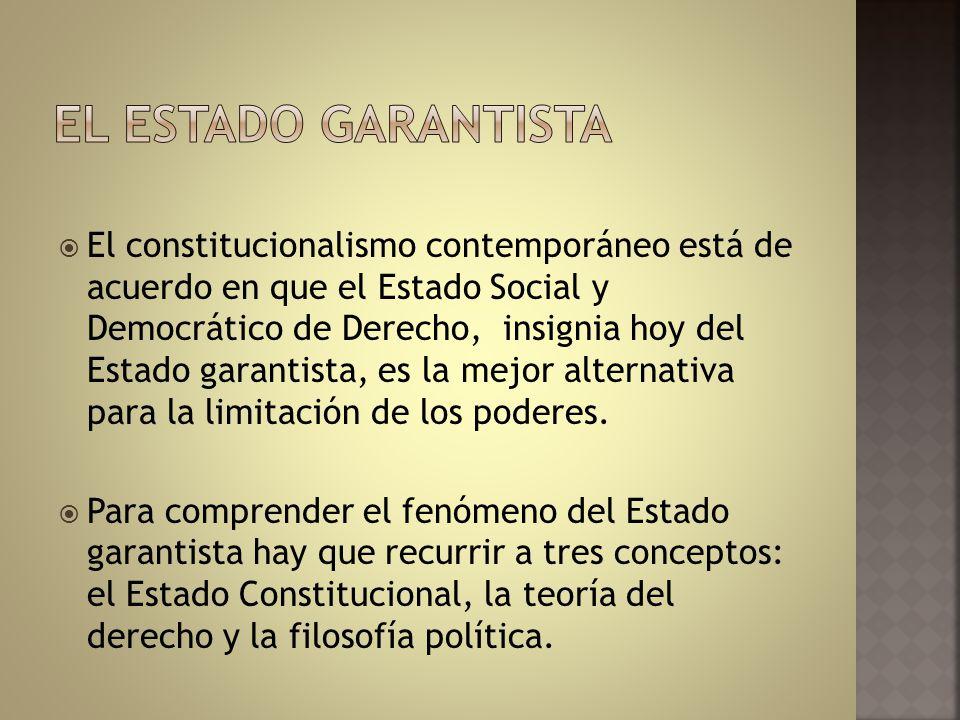 El constitucionalismo contemporáneo está de acuerdo en que el Estado Social y Democrático de Derecho, insignia hoy del Estado garantista, es la mejor