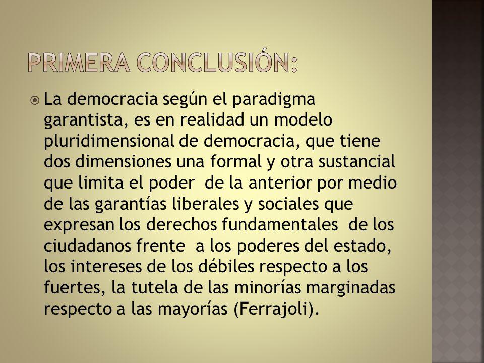 La democracia según el paradigma garantista, es en realidad un modelo pluridimensional de democracia, que tiene dos dimensiones una formal y otra sust