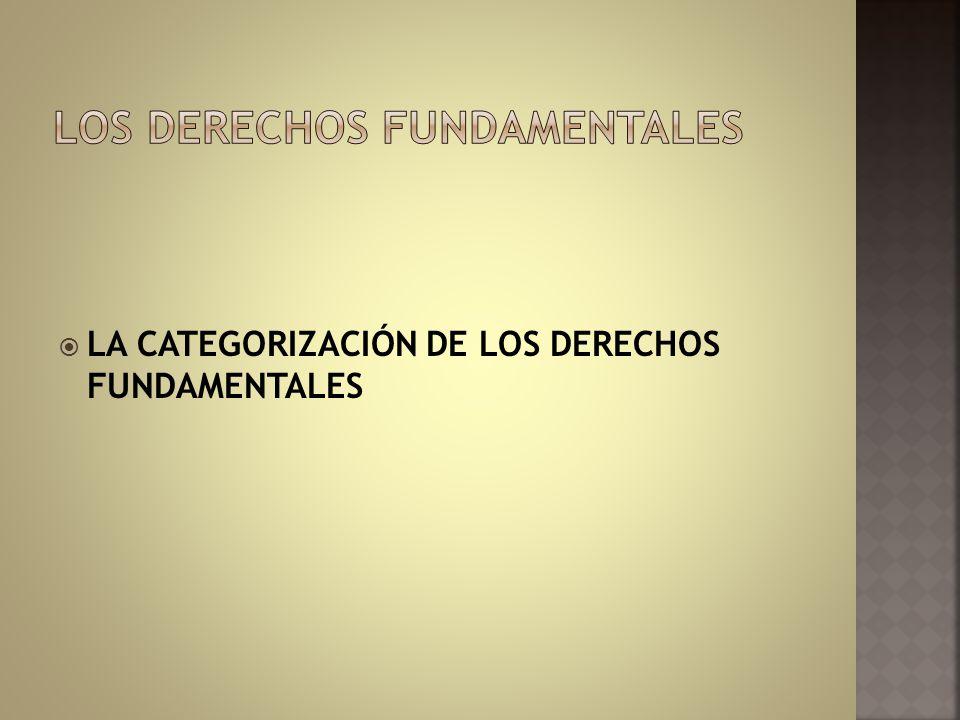 LA CATEGORIZACIÓN DE LOS DERECHOS FUNDAMENTALES