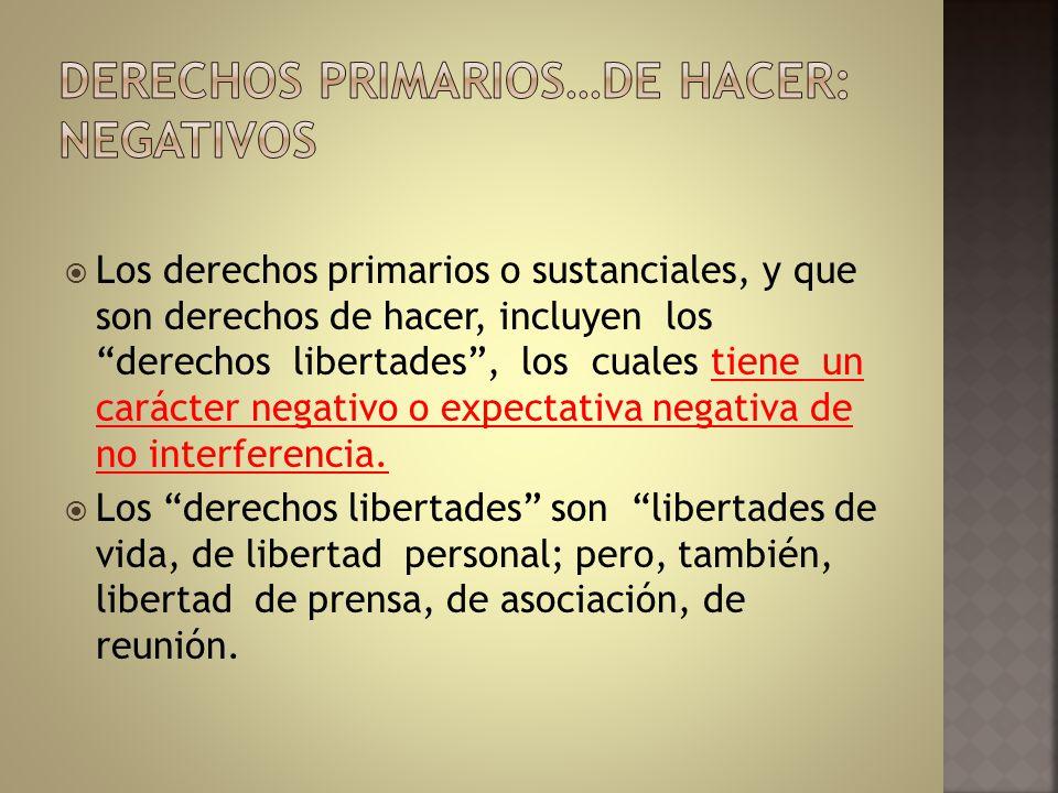 Los derechos primarios o sustanciales, y que son derechos de hacer, incluyen los derechos libertades, los cuales tiene un carácter negativo o expectat