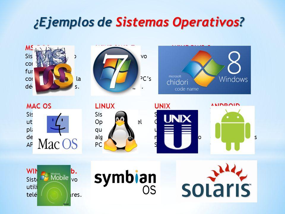 ¿Ejemplos de Sistemas Operativos.