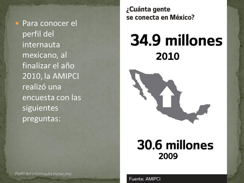 Para conocer el perfil del internauta mexicano, al finalizar el año 2010, la AMIPCI realizó una encuesta con las siguientes preguntas: