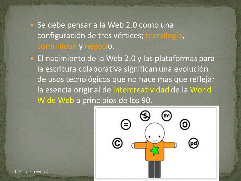 Se debe pensar a la Web 2.0 como una configuración de tres vértices; tecnología, comunidad y negocio.