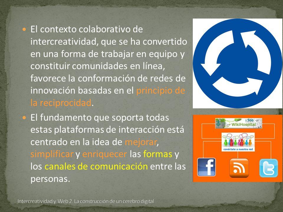 El contexto colaborativo de intercreatividad, que se ha convertido en una forma de trabajar en equipo y constituir comunidades en línea, favorece la conformación de redes de innovación basadas en el principio de la reciprocidad.