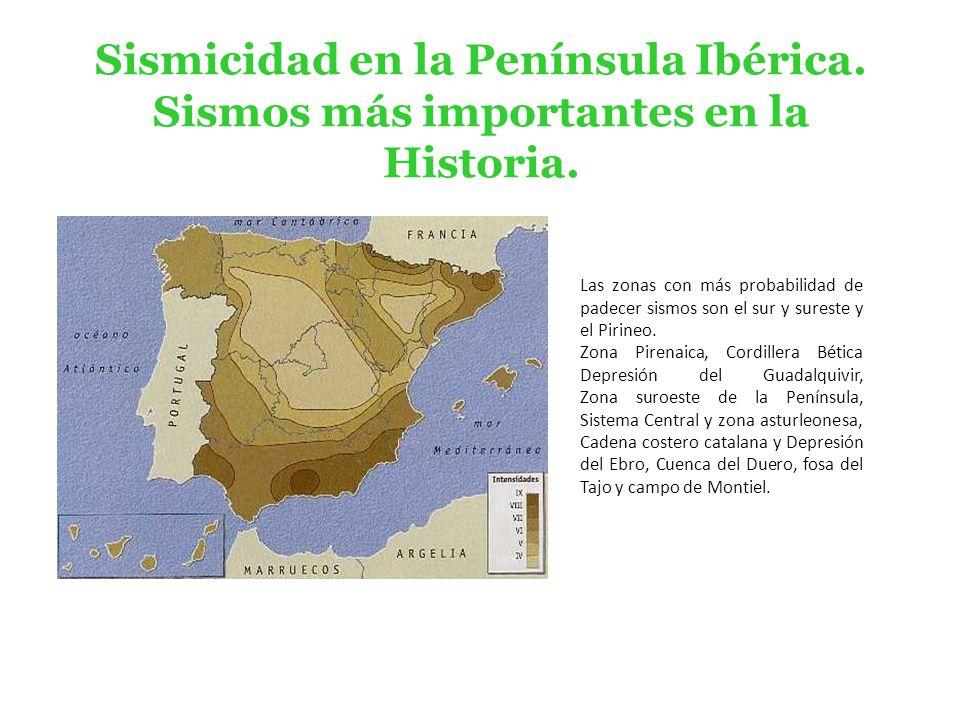 p Sismicidad en la Península Ibérica.Sismos más importantes en la Historia.