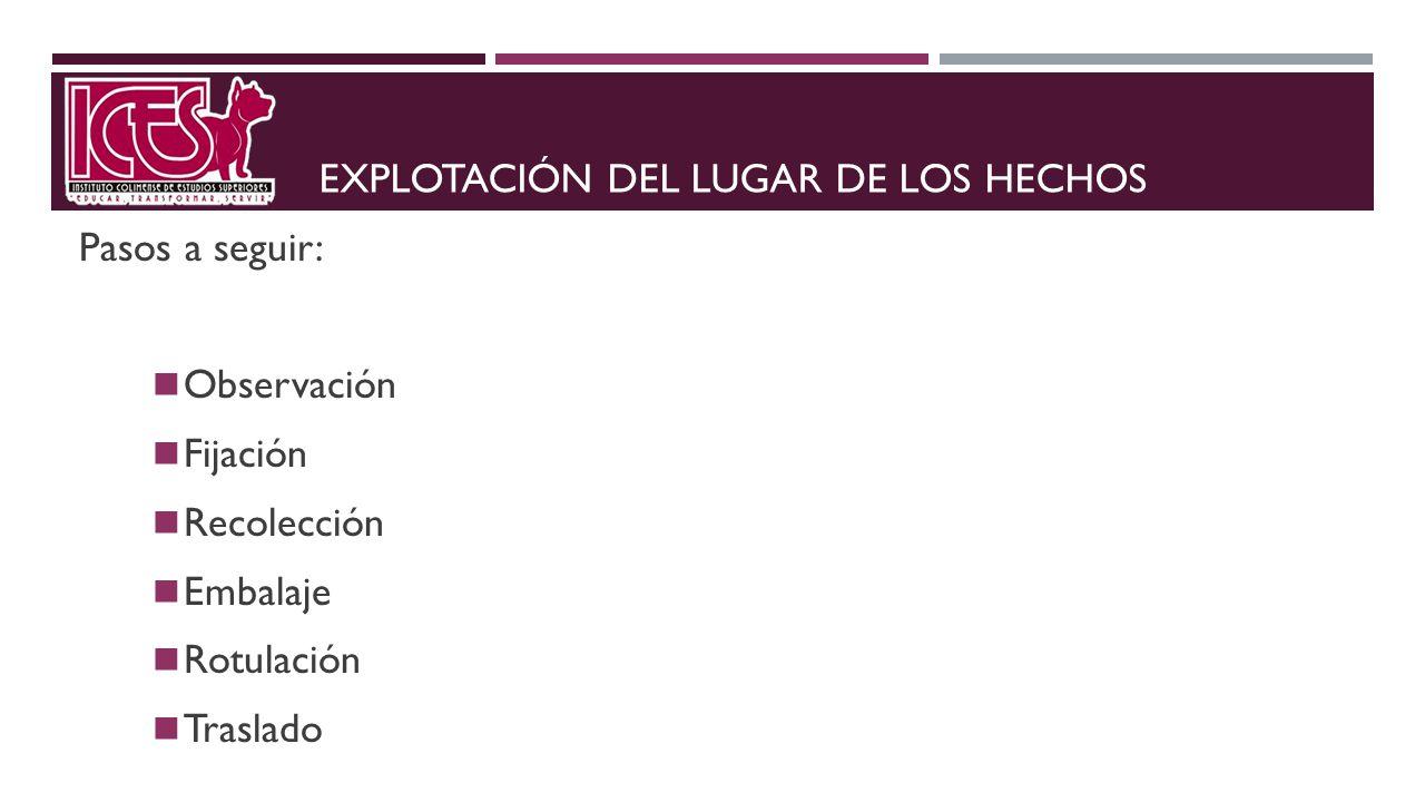 EXPLOTACIÓN DEL LUGAR DE LOS HECHOS Pasos a seguir: Observación Fijación Recolección Embalaje Rotulación Traslado