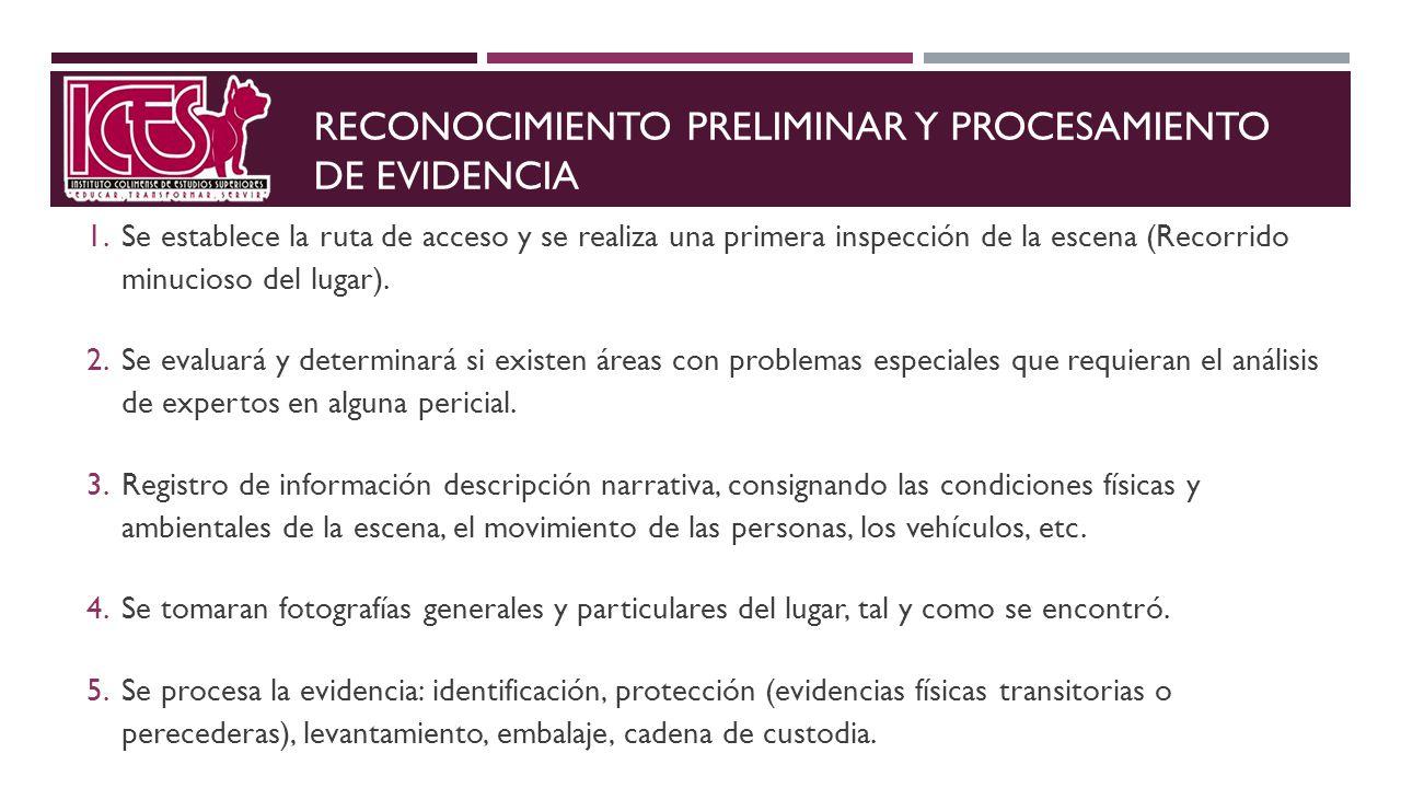 RECONOCIMIENTO PRELIMINAR Y PROCESAMIENTO DE EVIDENCIA 1. Se establece la ruta de acceso y se realiza una primera inspección de la escena (Recorrido m