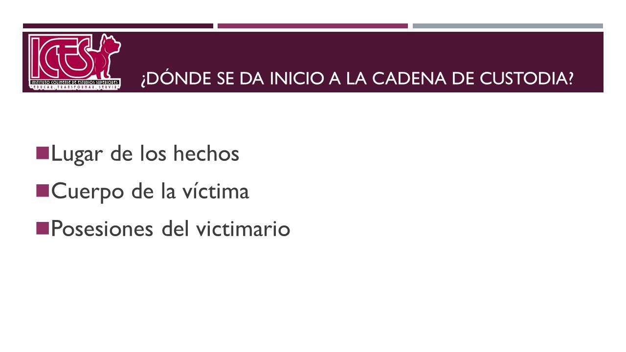 ¿DÓNDE SE DA INICIO A LA CADENA DE CUSTODIA? Lugar de los hechos Cuerpo de la víctima Posesiones del victimario