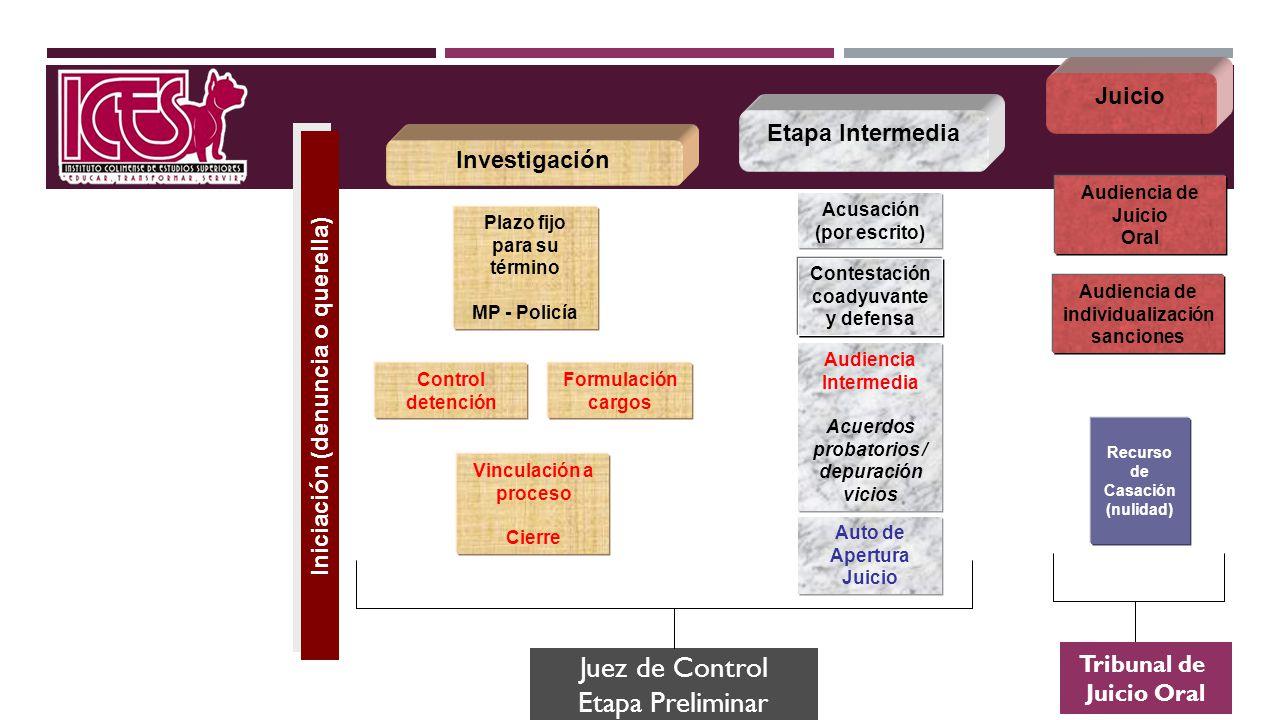 Iniciación (denuncia o querella) Plazo fijo para su término MP - Policía Formulación cargos Control detención Etapa Intermedia Acusación (por escrito)