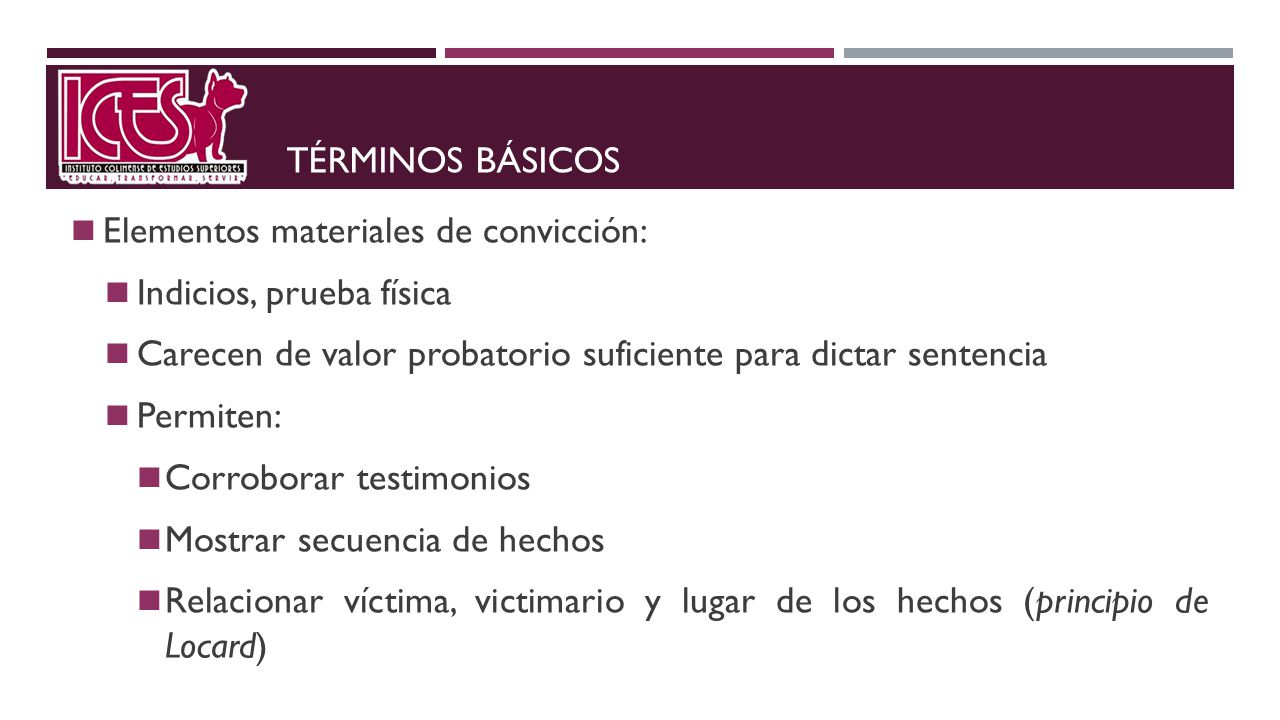 TÉRMINOS BÁSICOS Elementos materiales de convicción: Indicios, prueba física Carecen de valor probatorio suficiente para dictar sentencia Permiten: Co