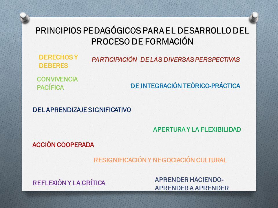 PRINCIPIOS PEDAGÓGICOS PARA EL DESARROLLO DEL PROCESO DE FORMACIÓN PARTICIPACIÓN DE LAS DIVERSAS PERSPECTIVAS DE INTEGRACIÓN TEÓRICO-PRÁCTICA DEL APRE