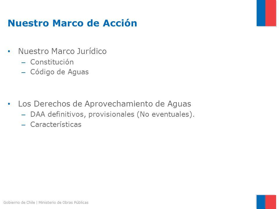 Nuestro Marco de Acción Nuestro Marco Jurídico – Constitución – Código de Aguas Los Derechos de Aprovechamiento de Aguas – DAA definitivos, provisiona