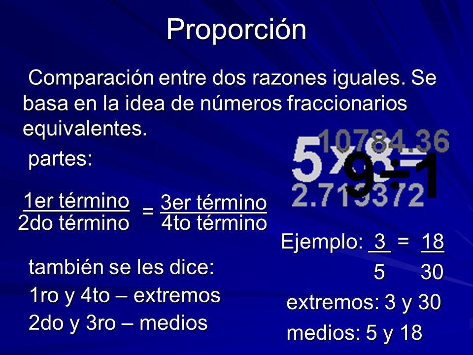 Comparación entre dos números o cantidades. Se basa en la idea del número fraccionario. Comparación entre dos números o cantidades. Se basa en la idea