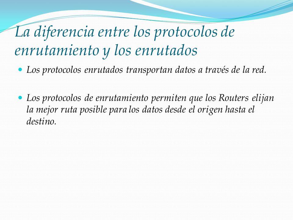 La diferencia entre los protocolos de enrutamiento y los enrutados Los protocolos enrutados transportan datos a través de la red. Los protocolos de en