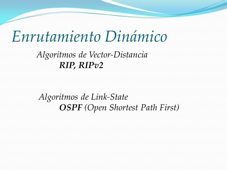 Enrutamiento Dinámico Algoritmos de Vector-Distancia RIP, RIPv2 Algoritmos de Link-State OSPF (Open Shortest Path First)