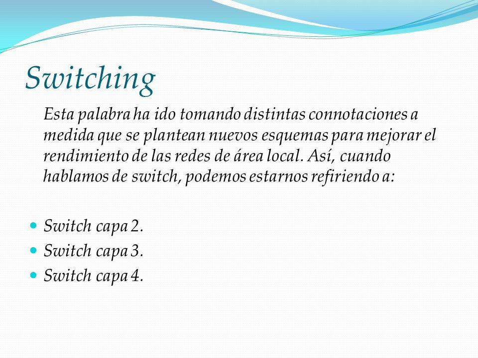 Switching Esta palabra ha ido tomando distintas connotaciones a medida que se plantean nuevos esquemas para mejorar el rendimiento de las redes de áre