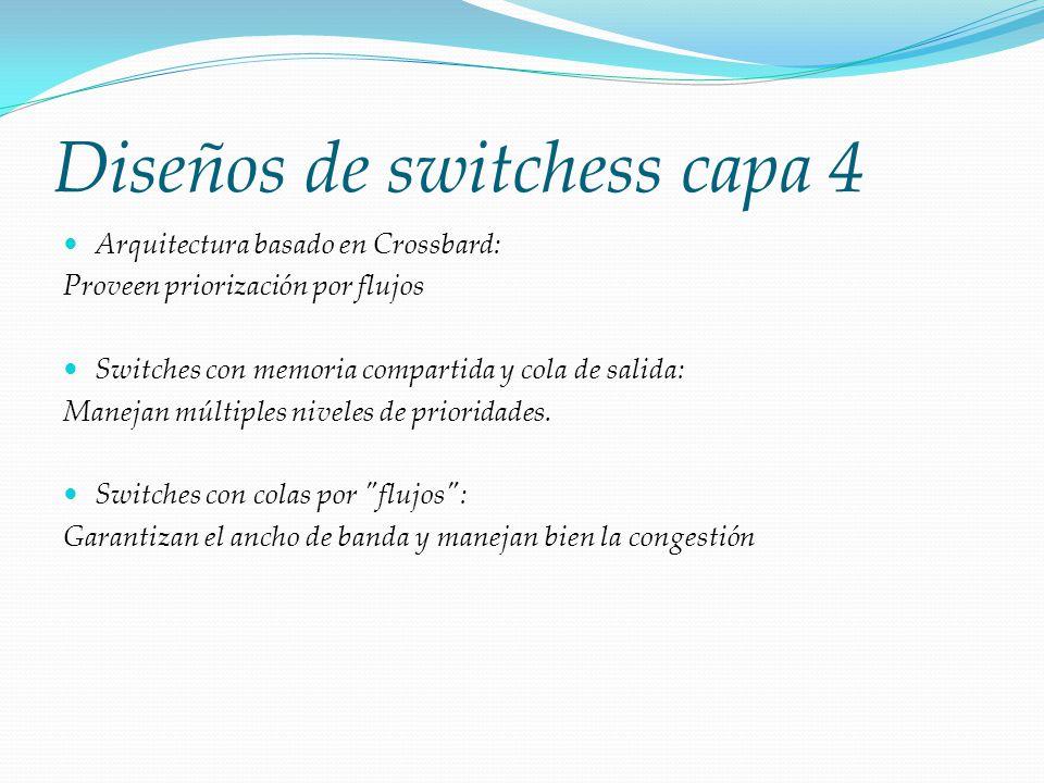 Diseños de switchess capa 4 Arquitectura basado en Crossbard: Proveen priorización por flujos Switches con memoria compartida y cola de salida: Maneja
