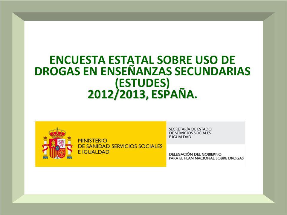 1 2012/2013, ESPAÑA ENCUESTA ESTATAL SOBRE USO DE DROGAS EN ENSEÑANZAS SECUNDARIAS (ESTUDES) 2012/2013, ESPAÑA.