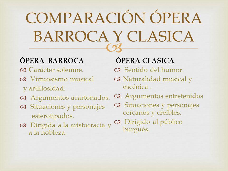 ÓPERA BARROCA Carácter solemne. Virtuosismo musical y artifiosidad. Argumentos acartonados. Situaciones y personajes esterotipados. Dirigida a la aris