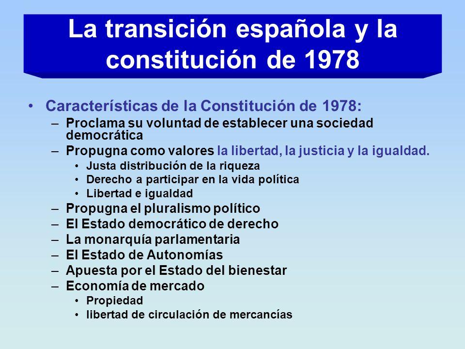 Características de la Constitución de 1978: –Proclama su voluntad de establecer una sociedad democrática –Propugna como valores la libertad, la justic