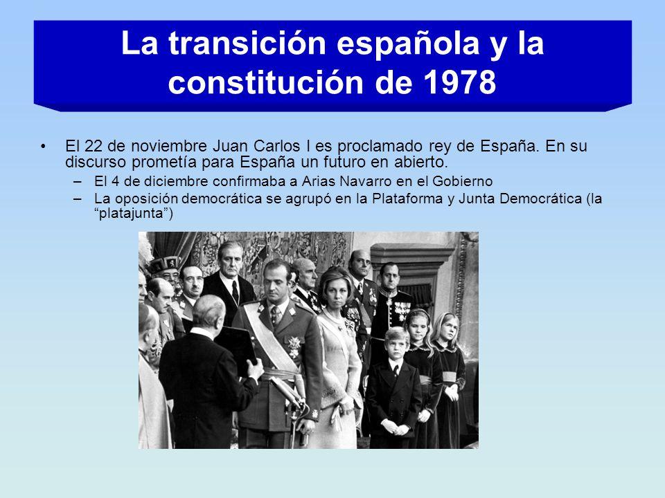 El 22 de noviembre Juan Carlos I es proclamado rey de España. En su discurso prometía para España un futuro en abierto. –El 4 de diciembre confirmaba