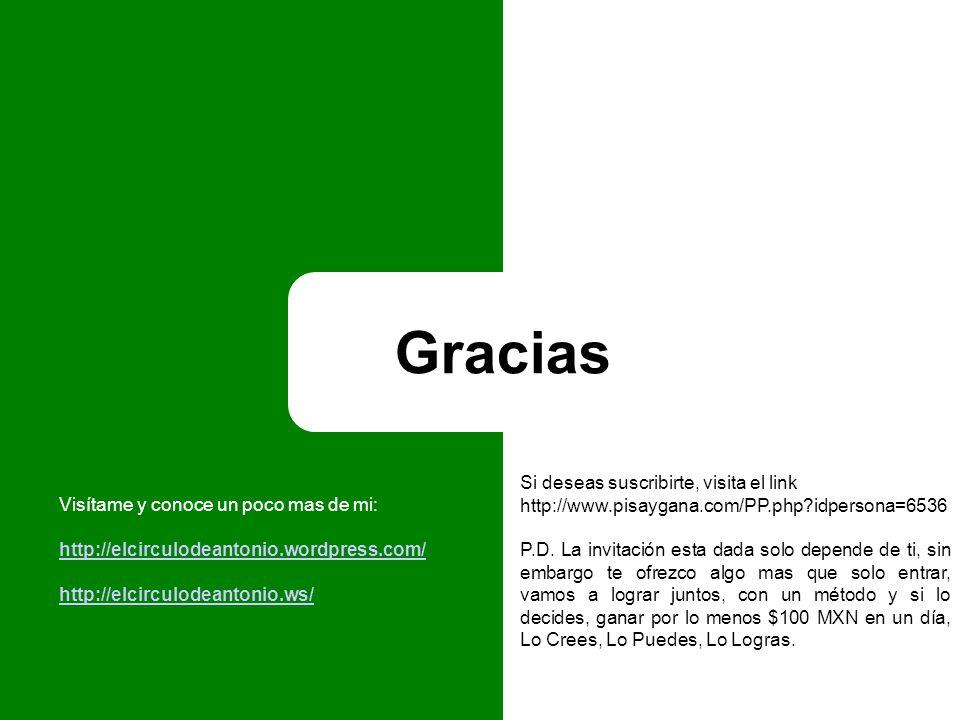 Gracias Si deseas suscribirte, visita el link http://www.pisaygana.com/PP.php idpersona=6536 P.D.