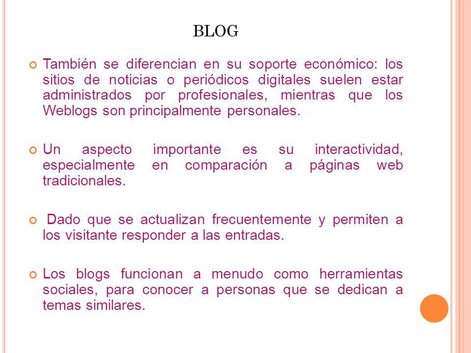 BLOG También se diferencian en su soporte económico: los sitios de noticias o periódicos digitales suelen estar administrados por profesionales, mientras que los Weblogs son principalmente personales.