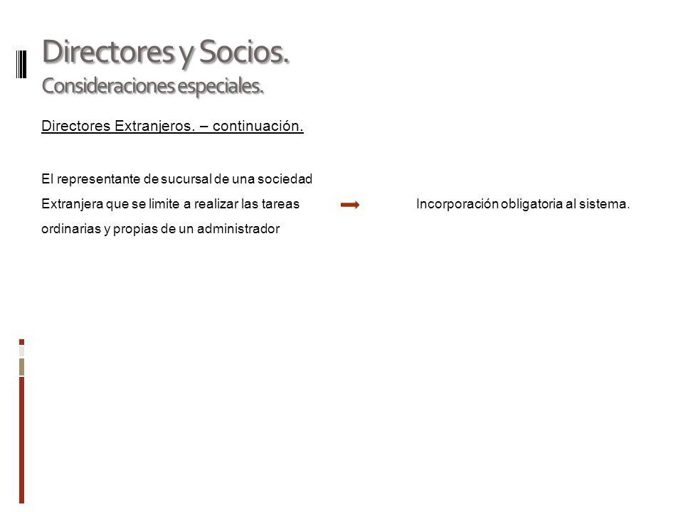 Directores y Socios.Consideraciones especiales. Directores suplentes.