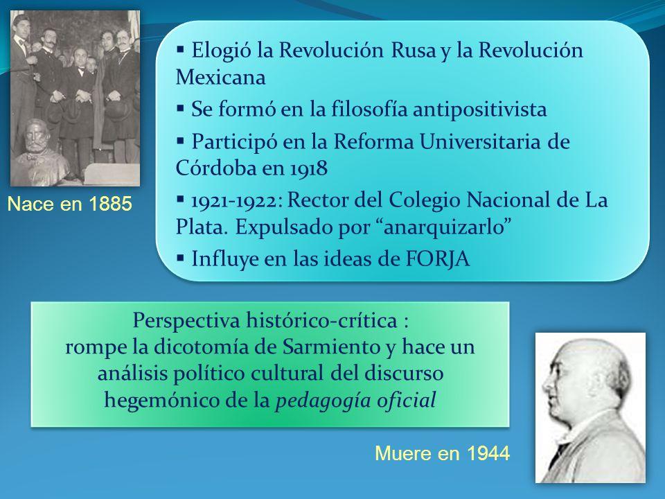 Nace en 1885 Muere en 1944 Elogió la Revolución Rusa y la Revolución Mexicana Se formó en la filosofía antipositivista Participó en la Reforma Univers