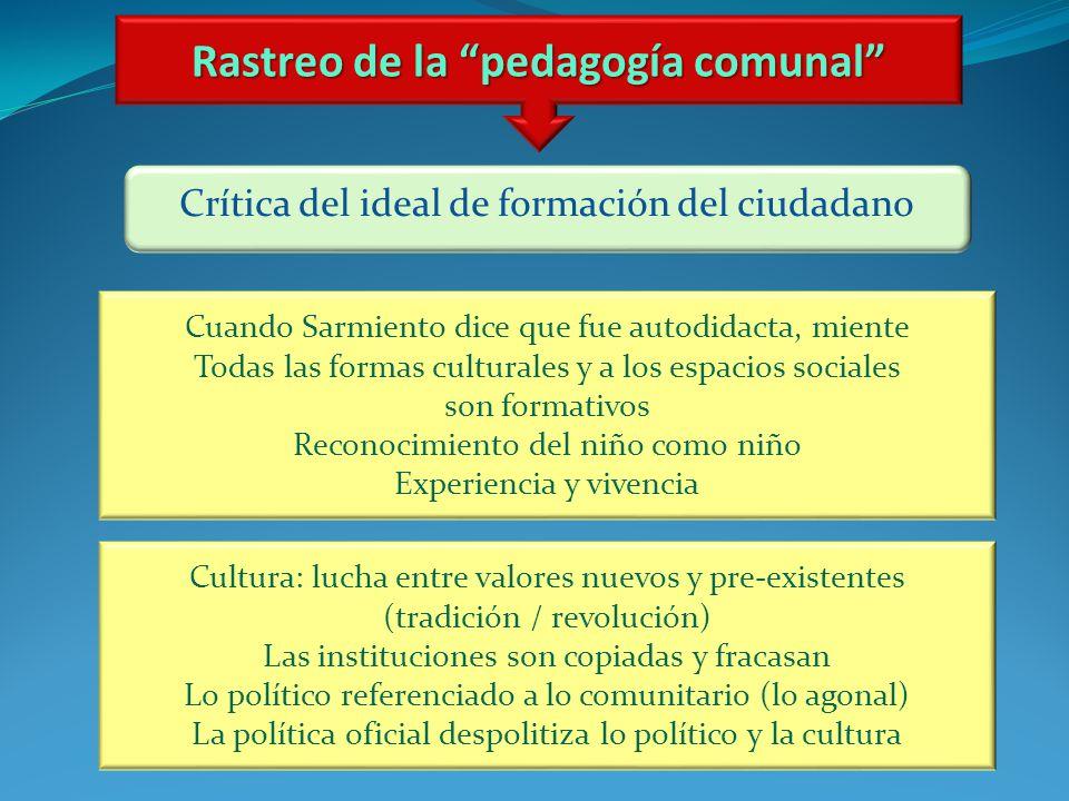 Rastreo de la pedagogía comunal Crítica del ideal de formación del ciudadano Cuando Sarmiento dice que fue autodidacta, miente Todas las formas cultur