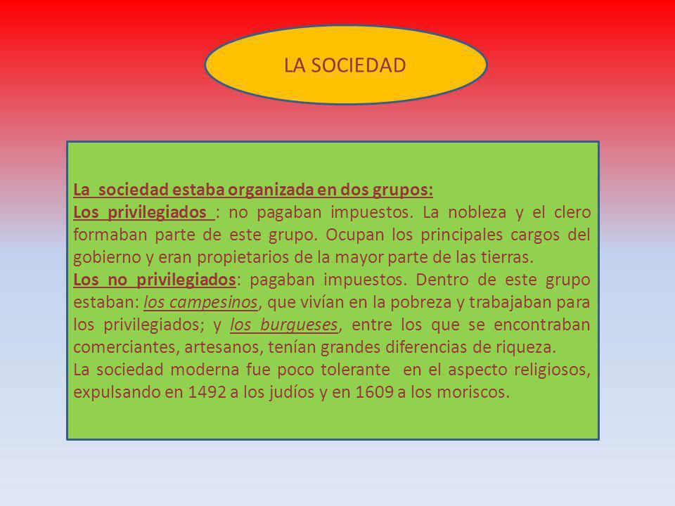 LA SOCIEDAD La sociedad estaba organizada en dos grupos: Los privilegiados : no pagaban impuestos. La nobleza y el clero formaban parte de este grupo.