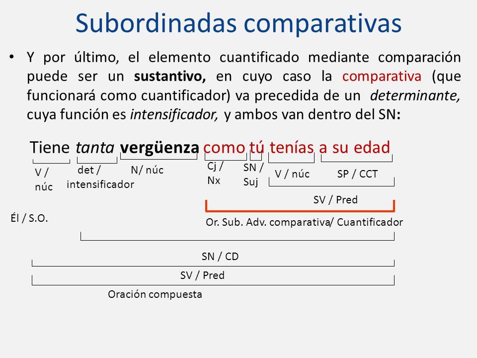 Y por último, el elemento cuantificado mediante comparación puede ser un sustantivo, en cuyo caso la comparativa (que funcionará como cuantificador) v