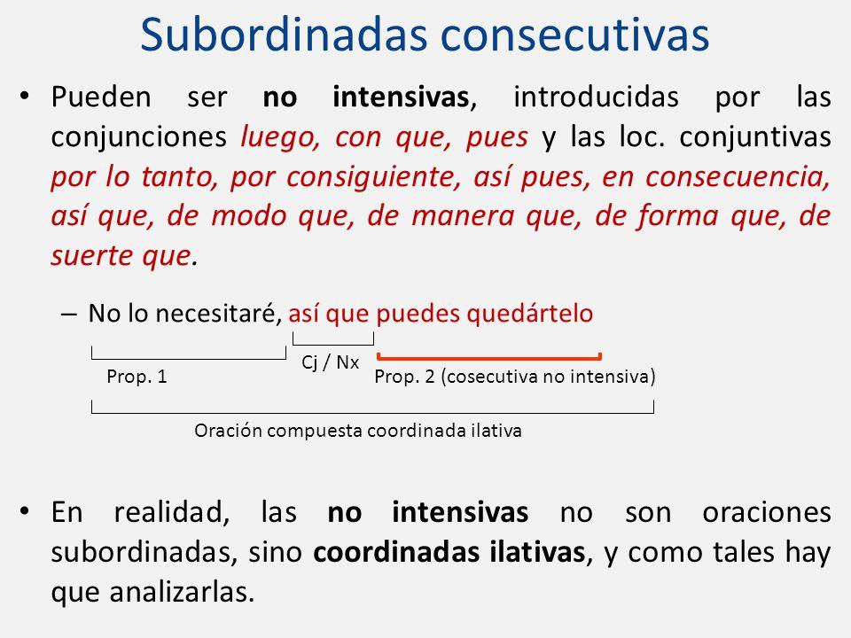 Pueden ser no intensivas, introducidas por las conjunciones luego, con que, pues y las loc. conjuntivas por lo tanto, por consiguiente, así pues, en c