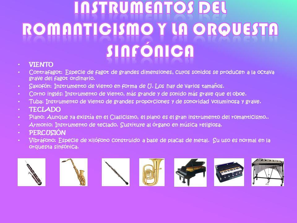 VIENTO Contrafagot: Especie de fagot de grandes dimensiones, cuyos sonidos se producen a la octava grave del fagot ordinario. Saxofón: Instrumento de