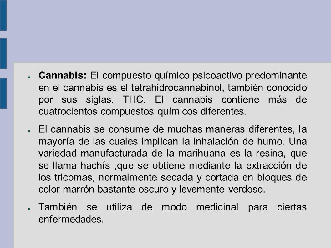 Cannabis: El compuesto químico psicoactivo predominante en el cannabis es el tetrahidrocannabinol, también conocido por sus siglas, THC. El cannabis c