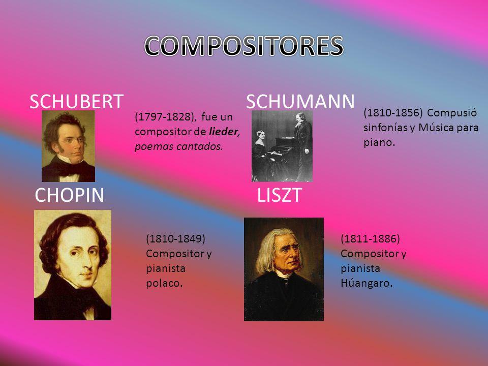 SCHUBERT SCHUMANN CHOPIN LISZT (1797-1828), fue un compositor de lieder, poemas cantados. (1810-1856) Compusió sinfonías y Música para piano. (1810-18