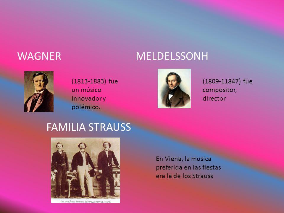 WAGNER MELDELSSONH FAMILIA STRAUSS (1813-1883) fue un músico innovador y polémico. (1809-11847) fue compositor, director En Viena, la musica preferida
