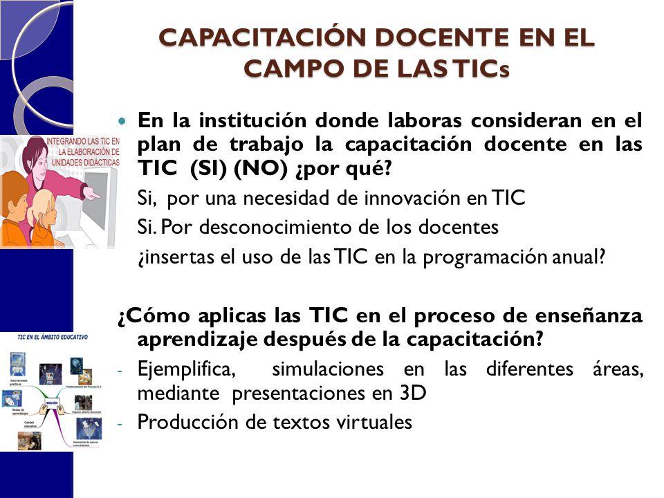 CAPACITACIÓN DOCENTE EN EL CAMPO DE LAS TICs En la institución donde laboras consideran en el plan de trabajo la capacitación docente en las TIC (SI)
